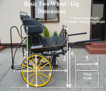 two wheel gig horse carriage dimensions