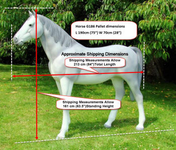 Life Size Horse Model G186 Shipping Measurements